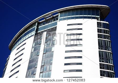 Swansea, Wales, UK, February 23, 2016 : The Meridian Tower in Swansea Bay is the tallest building in Wales and completed in 2010