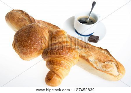 Cup Of Coffee With French Croissant And Chocolatine With Bread