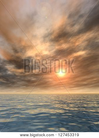 3d illustration of concept or conceptual sunset or sunrise background with the sun close to horizon and sea or ocean