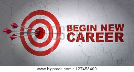 Success business concept: arrows hitting the center of target, Red Begin New Career on wall background, 3D rendering