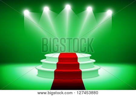 3D Illuminated Stage Podium For Award Ceremony Vector Illustration
