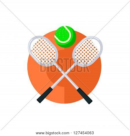 Tennis Round Sticker In Minimalistic Bright Colorful Flat Vector Design Isolated On White Background