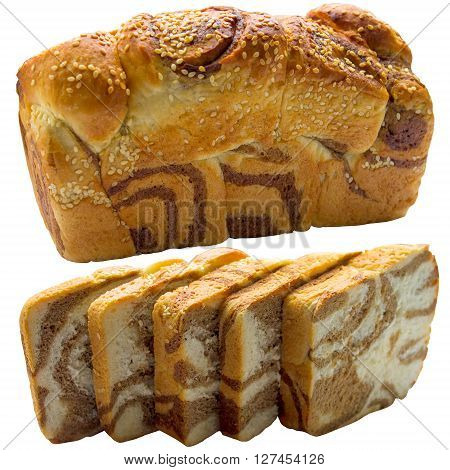 Bread closeup isolated grain meal warm natural delicious crust whole.