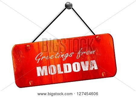 Greetings from moldova card with some soft highlights, 3D rendering, red grunge vintage sign