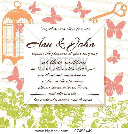 Wedding card or invitation. Herbs flowers butterflies birdcage and text on the background. Greeting postcard in grunge or retro style. Valentine anniversary