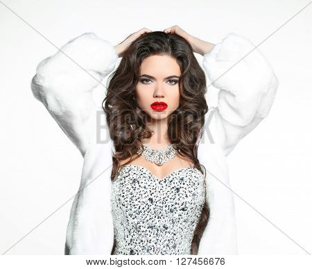 Winter Brunette Woman In Luxury White Mink Fur Coat. Beauty Fashion Model Girl In Beaded And Sequins