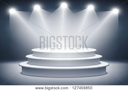 Illuminated Stage Podium For Award Ceremony Vector Illustration