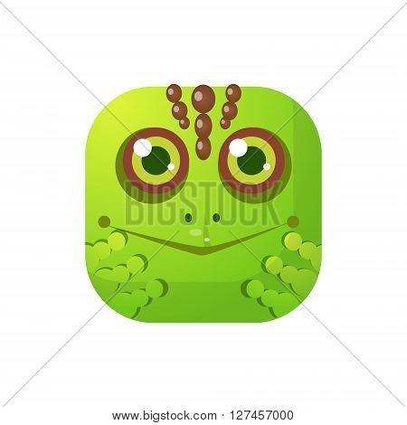 Toad Square Icon Colorful Bright Childish Cartoon Style Icon Flat Vector Design Isolated On White Background