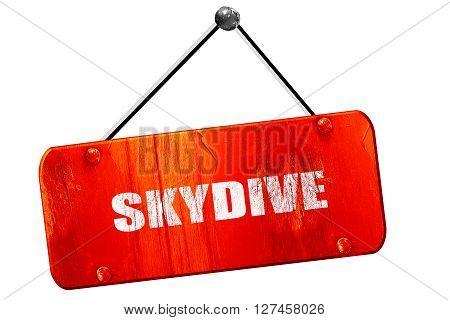 skydive sign background, 3D rendering, red grunge vintage sign