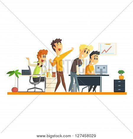 Office Team Chering Flat Vector Graphic Geometric Style Illustration On White Background