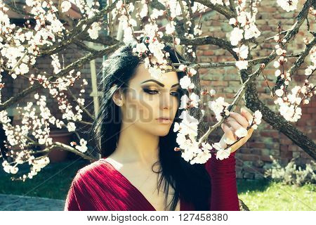 Woman With Spring Blossom