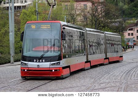 Prague Czech Republic - April 23 2016: Modern Articulated City Tramway Skoda 15T (Skoda ForCity Alfa) at the Prague Street