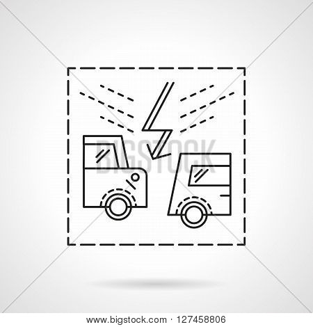 Road accidents. Abstract automobiles and lightning sign. Car insurance concept. Flat line style vector icon. Single design element for website, business.