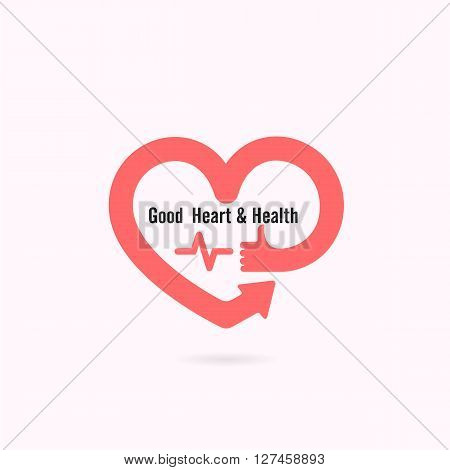 Heart shape and human hand symbol with Electrocardiogram signal.Heart Care logo.Healthcare & Medical concept.Vector illustration