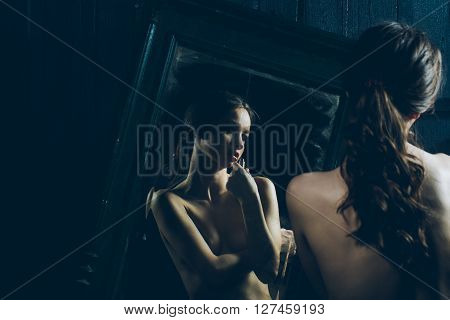 Sensual Girl Near Mirror