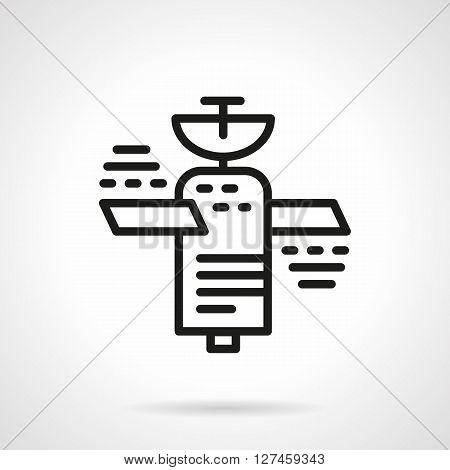 Space technology for communication, navigation and others. Space industry. Orbital satellite. Simple black line vector icon. Single element for web design, mobile app.