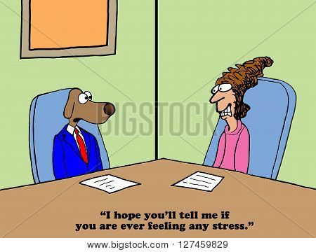 Business cartoon about being stressed around the boss.