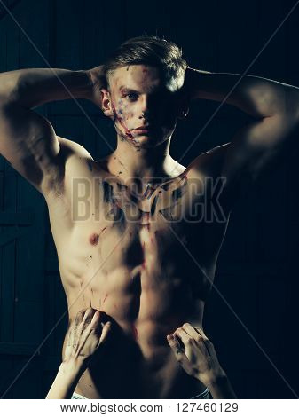 Muscular Paited Man And Hands