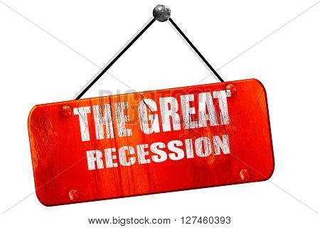 Recession sign, 3D rendering, red grunge vintage sign