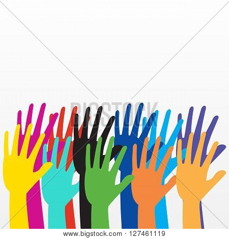 Colorful hand rising on white background. vector illustration design.