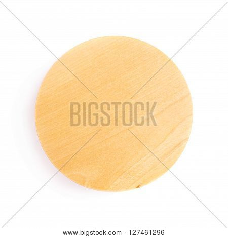 Wooden round lid top cover isolated over white background