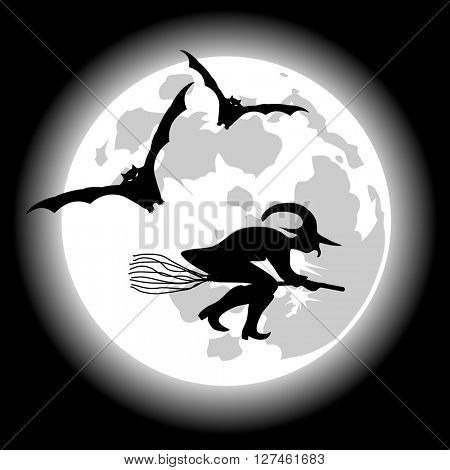 Vector illustration with full moon, witch, bats
