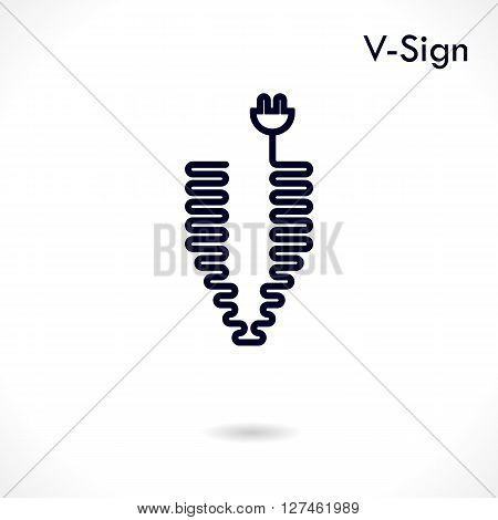 Creative V- letter icon abstract logo design vector template.Creative V- alphabet vector design.Business and education creative logotype symbol.Vector illustration