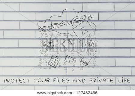 Cloud With Lock & Document Transfer Rain, Protected Your Private Life