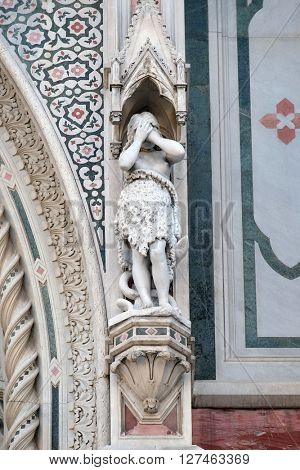 FLORENCE, ITALY - JUNE 05: Eve, Portal of Cattedrale di Santa Maria del Fiore (Cathedral of Saint Mary of the Flower), Florence, Italy on June 05, 2015