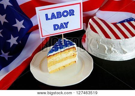 Piece of cake with USA flag. Labor day concept.