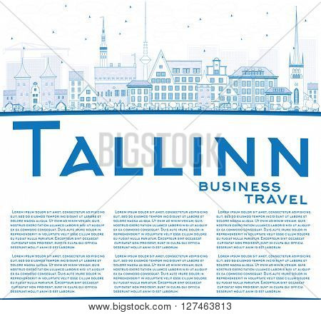 Outline Tallinn Skyline with Blue Buildings and Copy Space. Business Travel and Tourism Concept with Historic Buildings. Image for Presentation Banner Placard and Web Site.