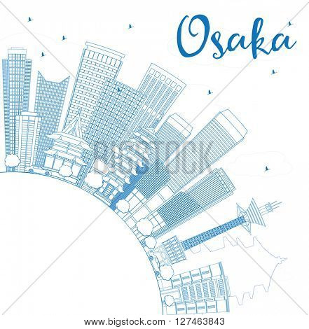 Outline Osaka Skyline with Blue Buildings and Copy Space. Business and Tourism Concept with Modern Buildings. Image for Presentation, Banner, Placard or Web Site.