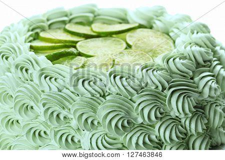 Big lime cake, close up