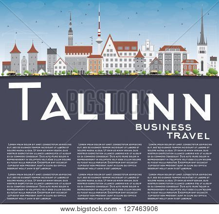 Tallinn Skyline with Gray Buildings, Blue Sky and Copy Space. Business Travel and Tourism Concept with Historic Buildings. Image for Presentation Banner Placard and Web Site.