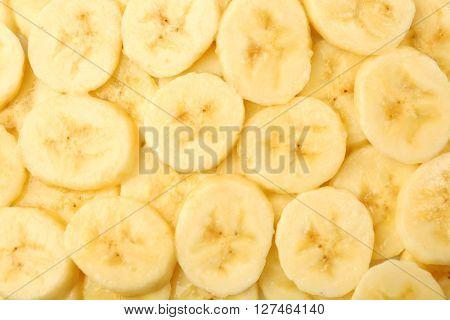 Ripe banana slices, background