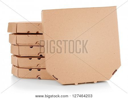Stack of pizza boxes, isolated on white