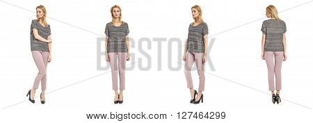 Beautiful model in trousers isolated on white