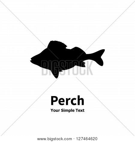 Vector illustration of a silhouette of a fish isolated on white background. Lake or river fish. Icon perch.