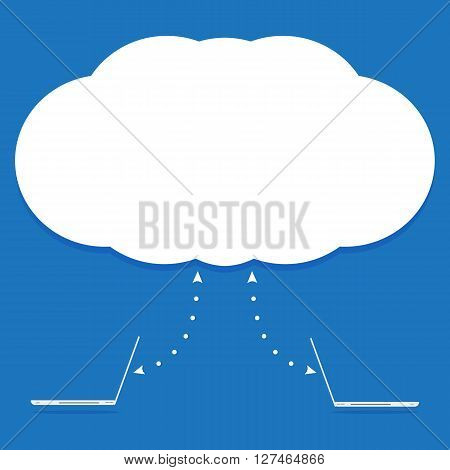 Computer laptop pc connected to cloud for sync data. Vector illustration cloud computing concept design.