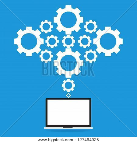 Computer laptop pc connected to gears cloud. Vector illustration cloud computing concept design.