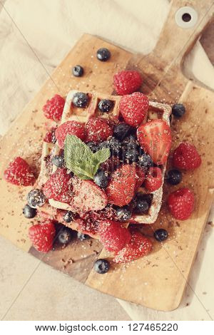 Food. Delicious waffle with berries