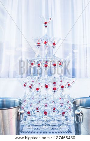 Pyramid champagne martini glasses party holiday wedding