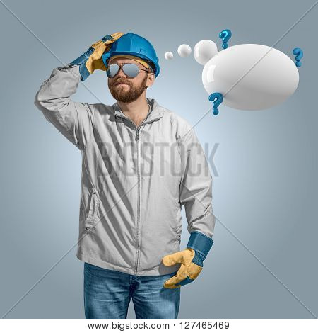 construction worker builder in helmet thinking with speech bubble isolated