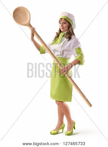 cook chef girl with a big wooden spoon on white isolated background