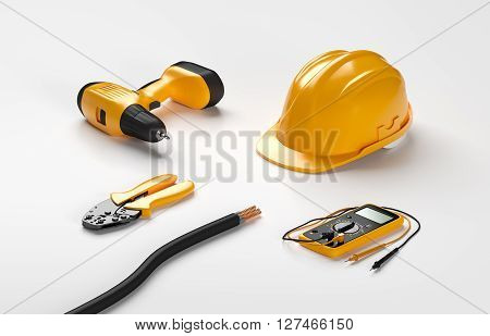 electric screwdriver, helmet, crimping pliers and digital multimeter on isolated background
