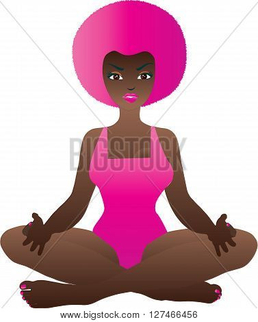 A Cartoon Woman in the Yoga Lotus Position isolated on white
