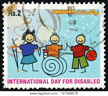 PAKISTAN - CIRCA 2003: a stamp printed in Pakistan dedicated to International Day of the Disabled circa 2003