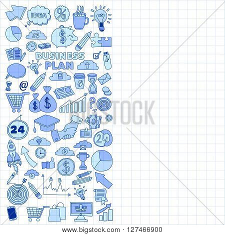 Vector set of doodle business icons Marketing Business Online shopping Bank Startup Brain Storm