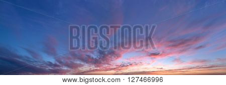 sky panorama, sunset with clouds and sun