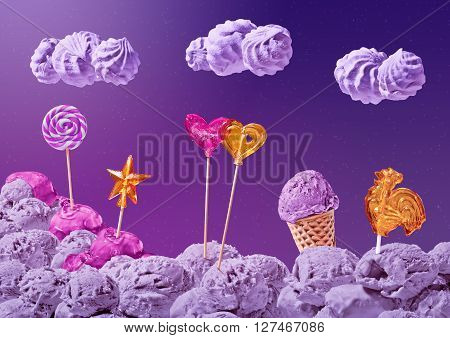 sweet landscape of ice cream and candy on the background of the night sky with stars and clouds